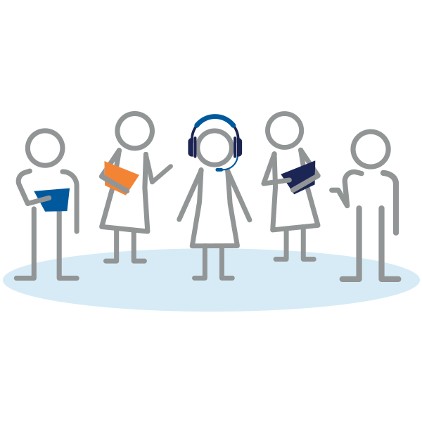 Illustration of stick figures representing Client Success team.