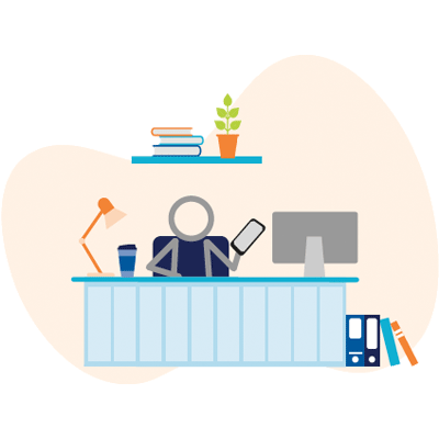Illustration of a character behind a desk.