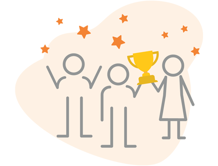 Illustration of characters holding a trophy.