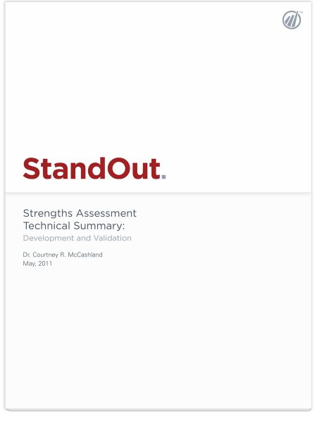 Image of StandOut Strengths Assessment Technical Summary PDF.